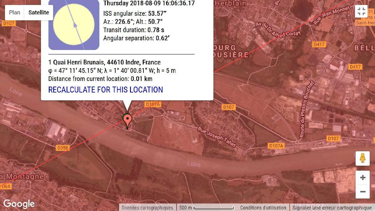 carte du transit ISS sur Nantes