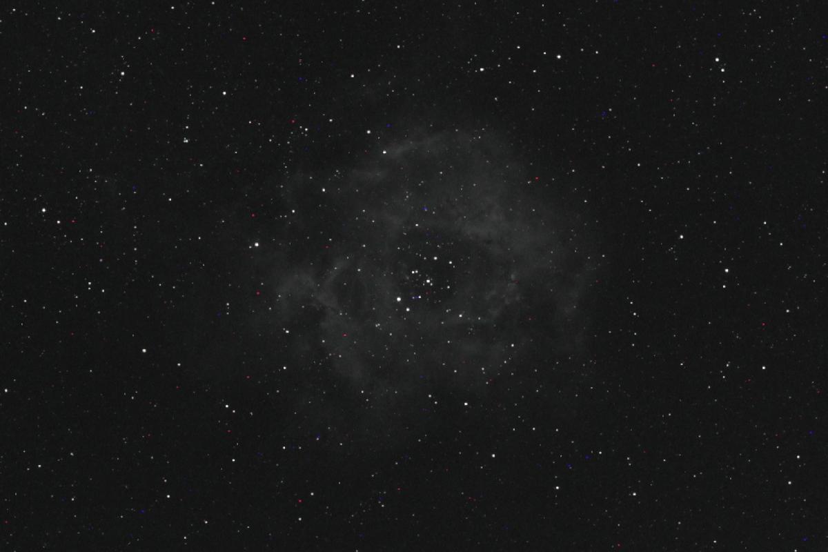 Nebuleuse de la Rosette Ha 600D Samyang 135 360s Astrotrac sans suivi