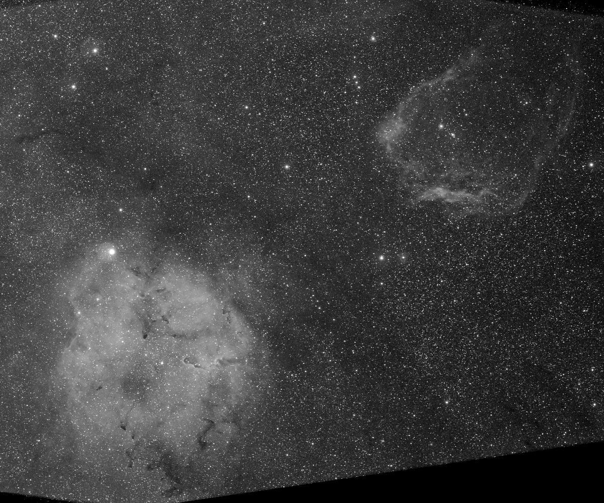 IC1848 + SH2-129 Ha Canon 600D Samyang 135 mm f/d 2 10 h