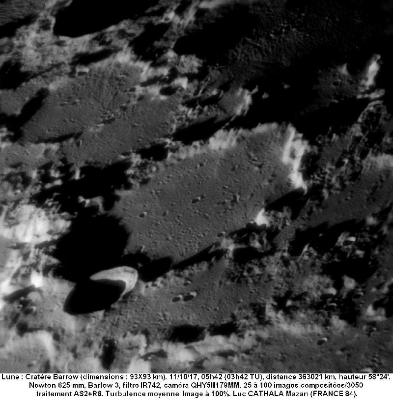Cratère Barrow 11/10/17 625mm barlow 3 IR742 100% Luc CATHALA
