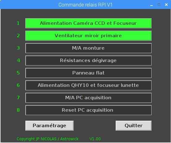 Soft pilotage carte relais avec RPI