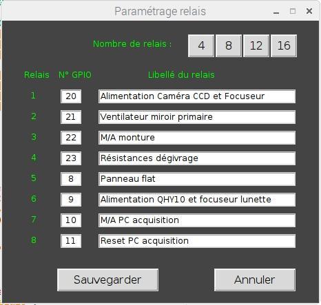 Ecran de paramétrage soft carte relais