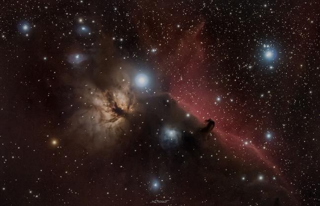 NGC-2024 et IC-434 Nébuleuse de la flamme et de la tête de cheval