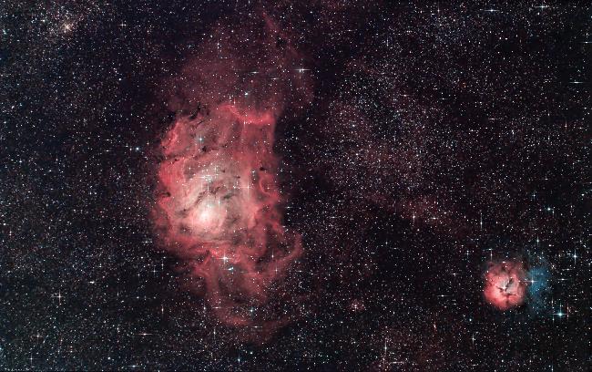 M8 & M20 - Nébuleuses du Lagon et Trifide (HaGB-RGB)